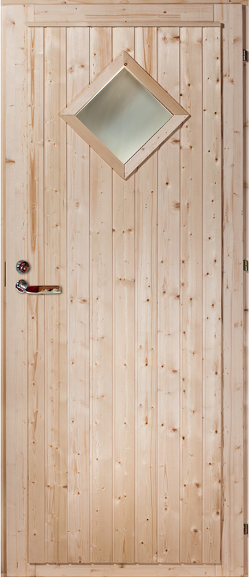 lightbox & Exterior door Pine/Spruce (u0027Diamondu0027 with window) - Ladu 6